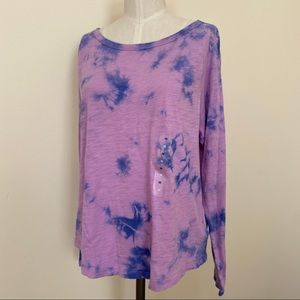 GAP Easy Tie-Dye Long Sleeve Crewneck T-Shirt M